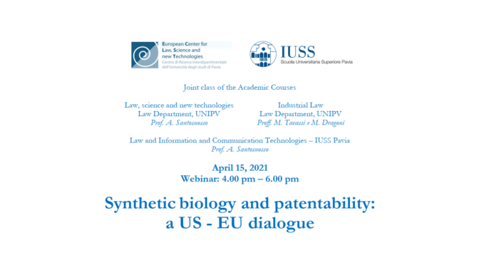 Synthetic biology and patentability – 15 aprile 2021, ore 16.00